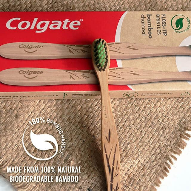 Colgate Bamboo Charcoal Toothbrush's 100% bamboo biodegradable handle