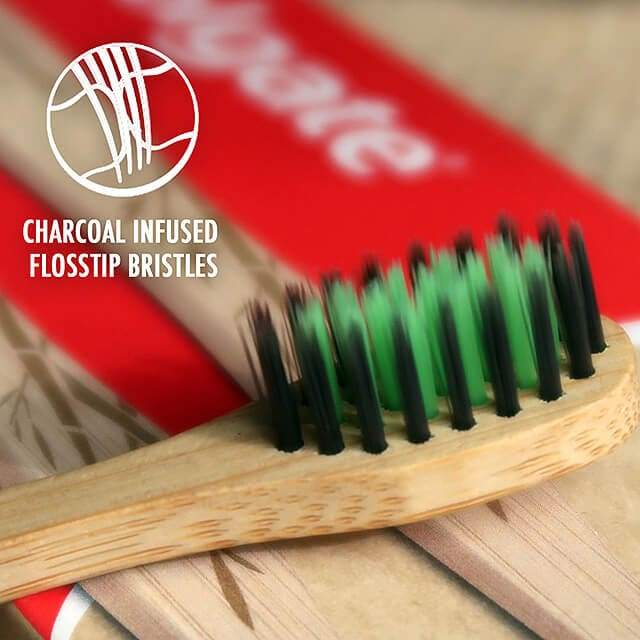 Charcoal infused floss-tip bristles on Colgate's Bamboo Charcoal Toothbrush