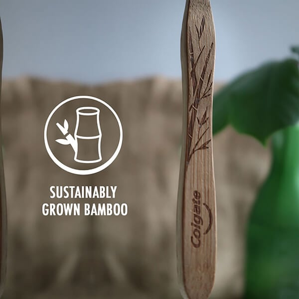 Colgate Bamboo Charcoal Toothbrush's sustainably grown bamboo handle