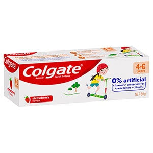 Colgate 0% Artificial Anticavity Fluoride Kids Toothpaste 4-6 Years