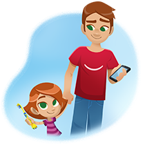 parent and girl illustration