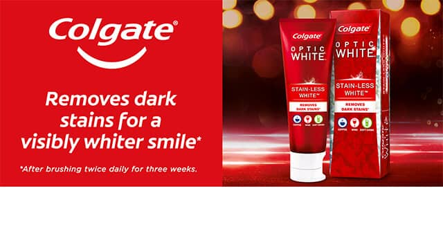 Colgate® Optic White - removes dark stains for a visibly whiter smile