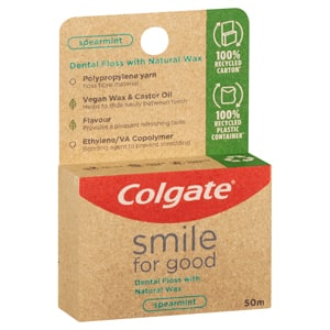 Colgate<sup>®</sup> Smile For Good Naturally Waxed Vegan Spearmint Dental Floss